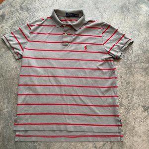 Vintage Polo Ralph Lauren Gray Red Stripe Logo Polo T-Shirt Size Medium